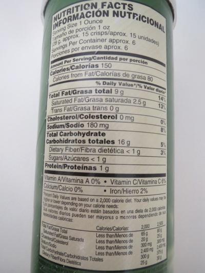 Pringles - US nutrition information
