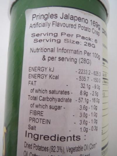 Pringles - UK nutrition information